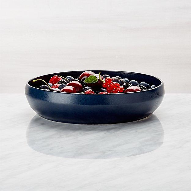 Visto Navy Stoneware Low Bowl - Image 1 of 7