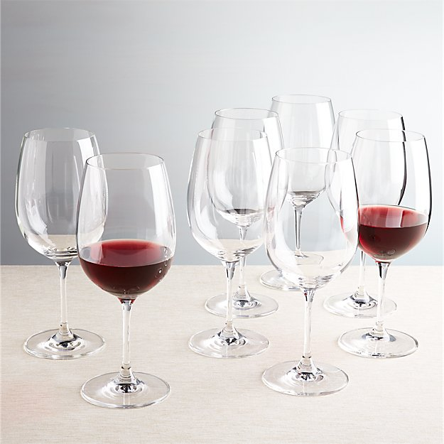 large wine glass set of 8 big wine glasses crate and barrel 11245