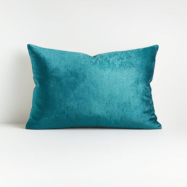 "Viva Turquoise 22""x15"" Crushed Velvet Pillow with Down-Alternative Insert - Image 1 of 2"