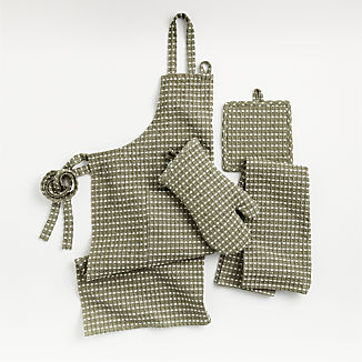 Olive Waffle Chambray Kitchen Textiles