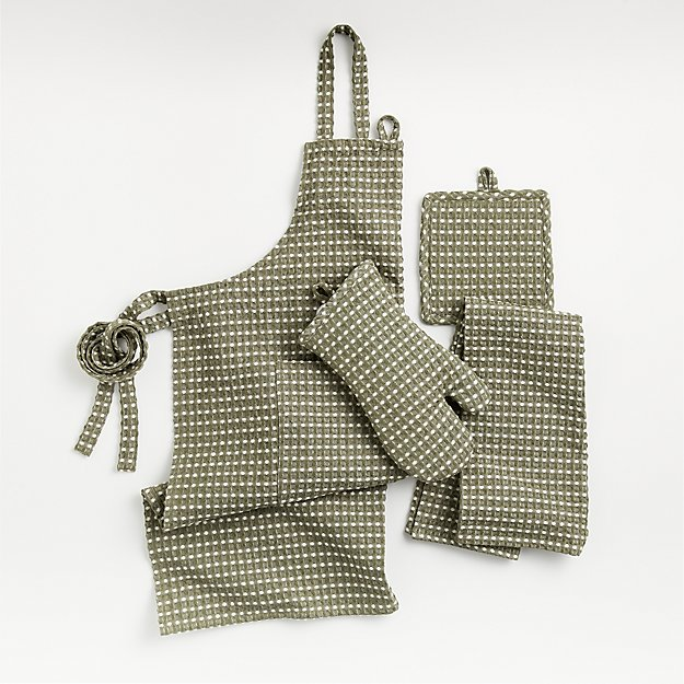 Olive Waffle Chambray Kitchen Textiles - Image 1 of 7