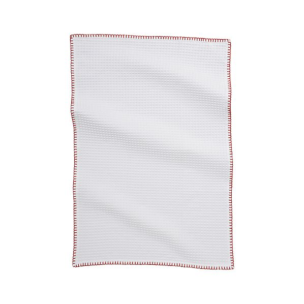 White Waffle Dish Towel with Red Stitching