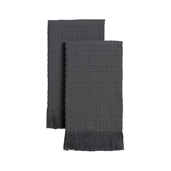 Set of 2 Waffle Grey Guest Towels