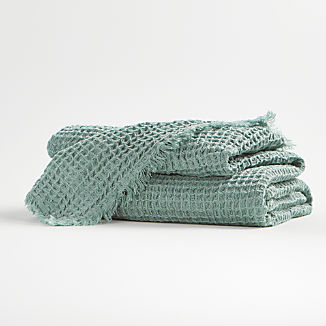 Light Blue Waffle Throw