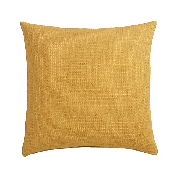 """Waffle Gold 23"""" Pillow with Down-Alternative Insert"""