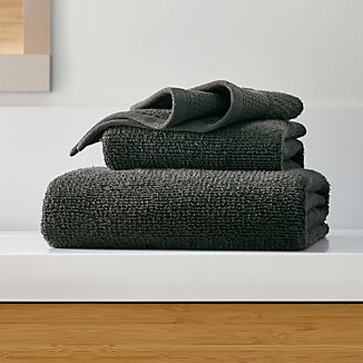 Waffle-Terry Black Organic Bath Towels