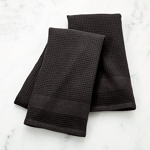 Black Terry/Waffle Weave Dish Towels, Set of 2 - Image 1 of 2