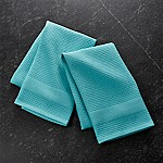 Waffle-Terry Aqua Dish Towels, Set of 2