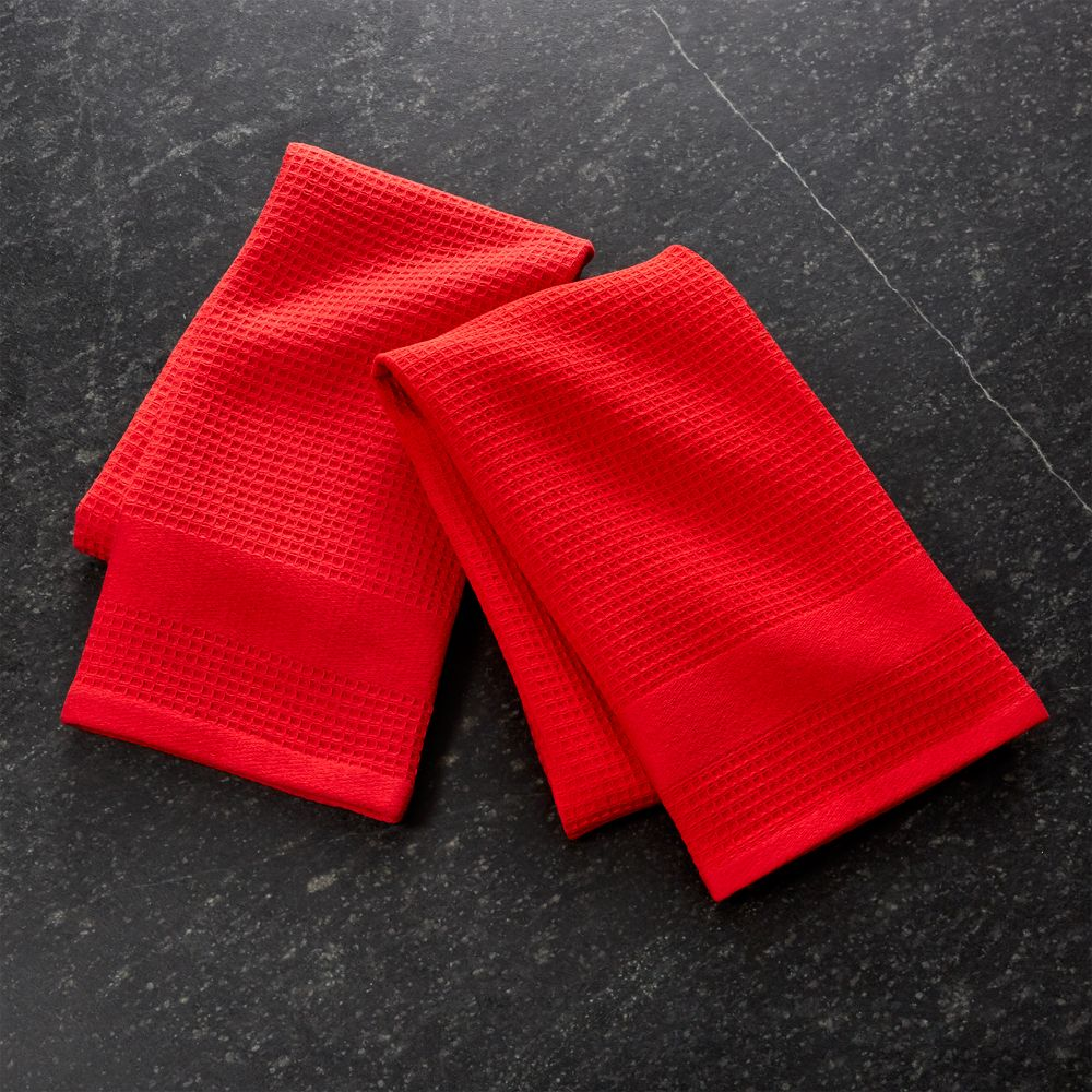 Set of 2 Waffle-Terry Red Dish Towels - Crate and Barrel
