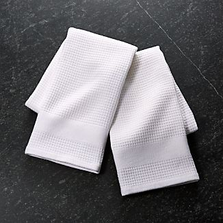 Waffle-Terry White Dish Towels, Set of 2