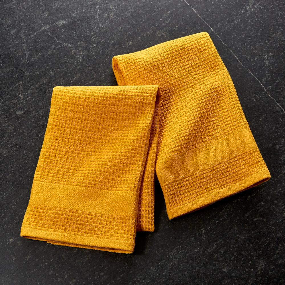 Set of 2 Waffle-Terry Yellow Dish Towels - Crate and Barrel