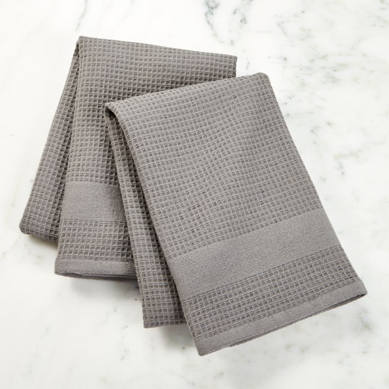Grey Dish Rags: Waffle-Terry Grey Dish Towels, Set Of 2 + Reviews