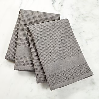 Waffle-Terry Grey Dish Towels, Set of 2
