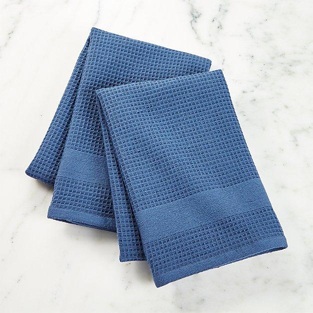 Waffle-Terry Indigo Dish Towels, Set of 2