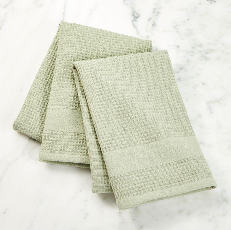Waffleterry Aqua Dish Towels Set Of In Kitchen Linens Reviews Crate And Barrel