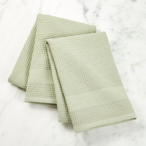 Waffle-Terry Sage Dish Towels, Set of 2