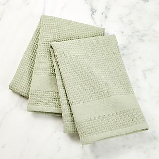 Waffle Terry Sage Dish Towels Set Of 2