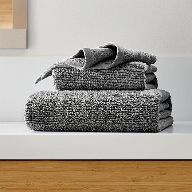 Waffle-Terry Dark Grey Organic Bath Towels - Image 1 of 4
