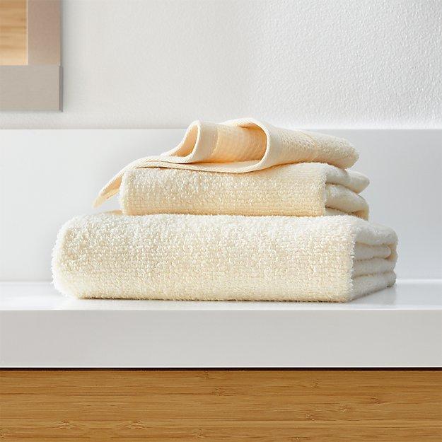 Waffle-Terry Ivory Organic Bath Towels - Image 1 of 4
