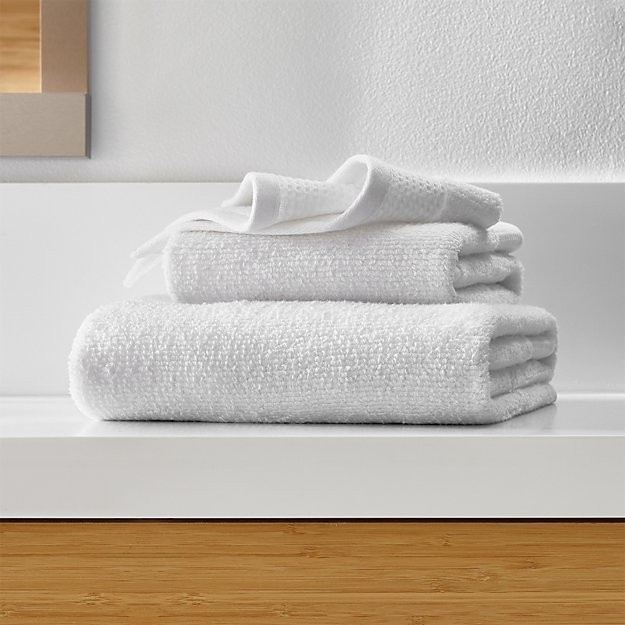 Waffle-Terry White Organic Bath Towels - Image 1 of 4