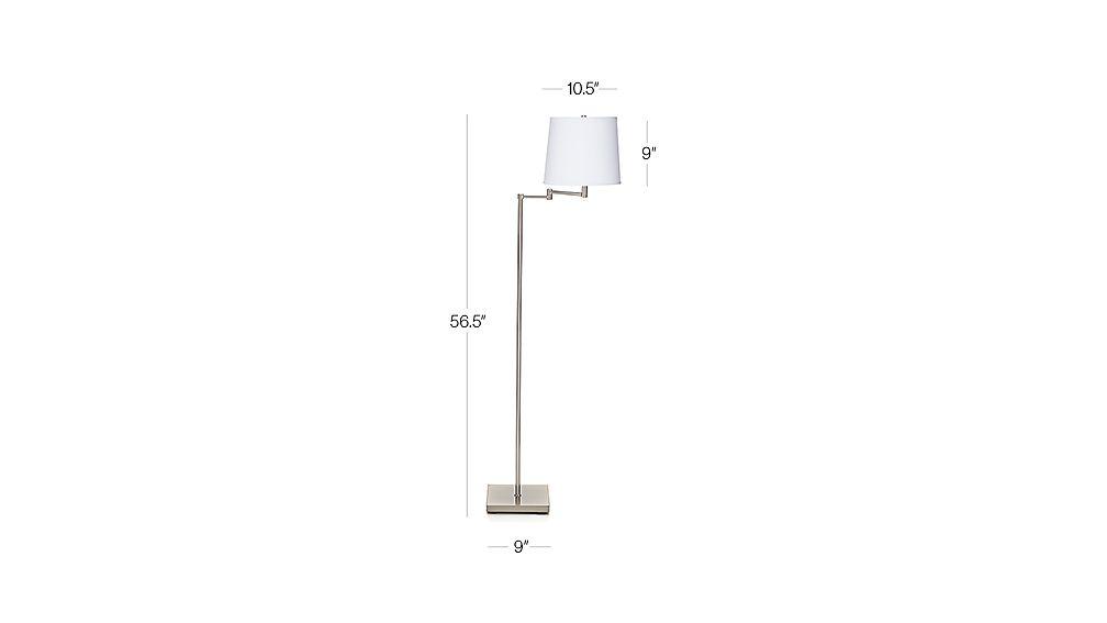 adams nickel swing arm floor lamp dimensions