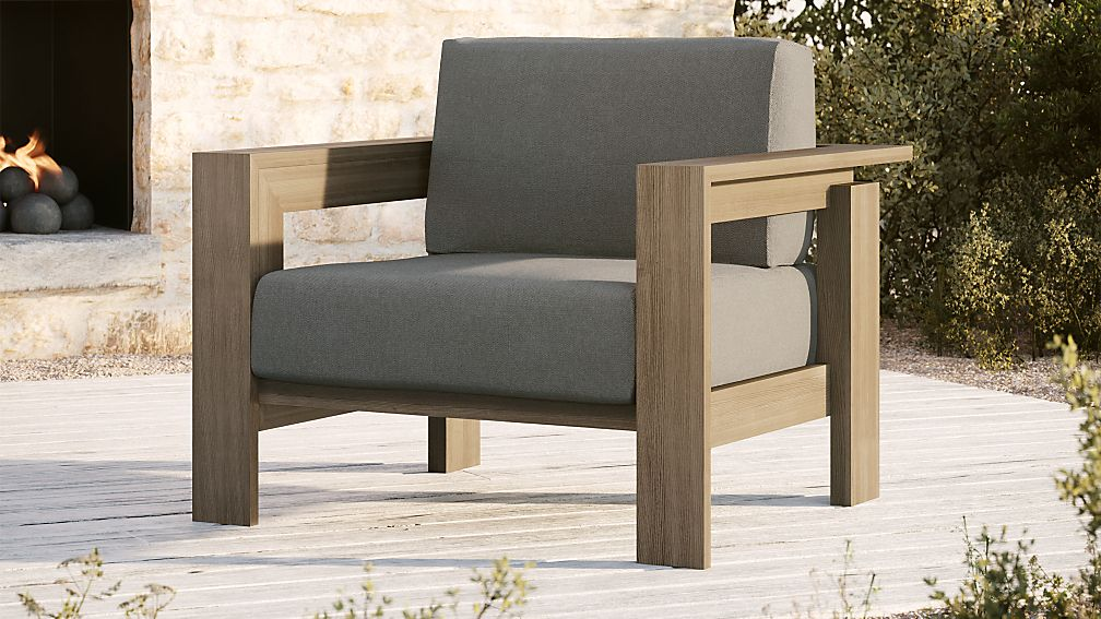 Walker Grey Wash Teak Lounge Chair with Graphite Sunbrella ® Cushions - Image 1 of 7