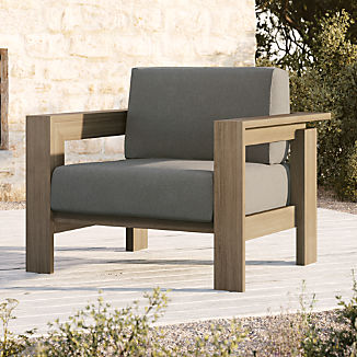 Walker Grey Wash Teak Lounge Chair with Graphite Sunbrella ® Cushions