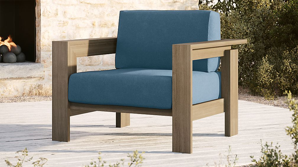 Walker Grey Wash Teak Lounge Chair with Sapphire Sunbrella ® Cushions - Image 1 of 6
