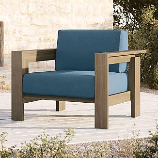 Walker Grey Wash Teak Lounge Chair with Sapphire Sunbrella ® Cushions