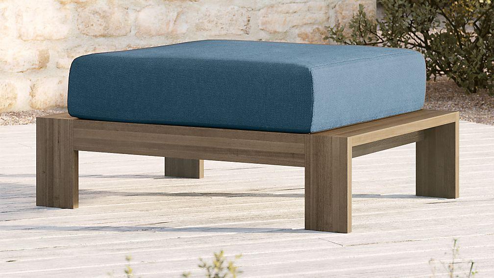 Walker Grey Wash Teak Ottoman with Sapphire Sunbrella ® Cushion - Image 1 of 4