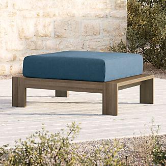 Walker Grey Wash Teak Ottoman with Sapphire Sunbrella ® Cushion