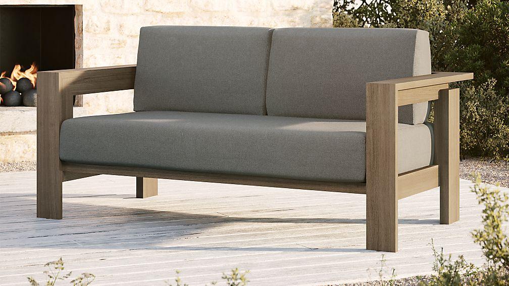 Walker Grey Wash Teak Sofa with Graphite Sunbrella Cushions + ...