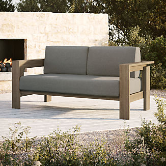 Walker Grey Wash Teak Sofa with Graphite Sunbrella ® Cushions