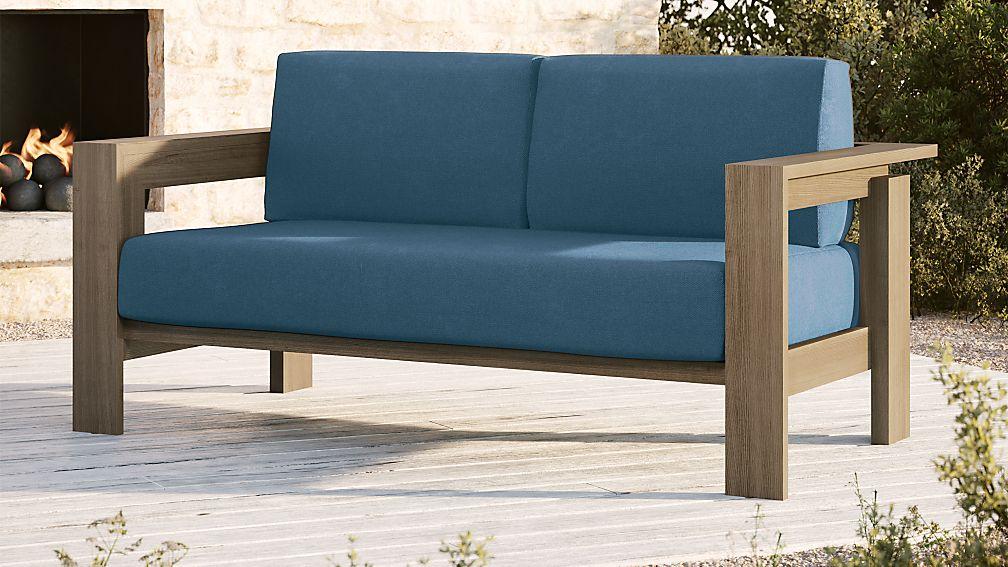 Walker Grey Wash Teak Sofa with Sapphire Sunbrella ® Cushions - Image 1 of 5