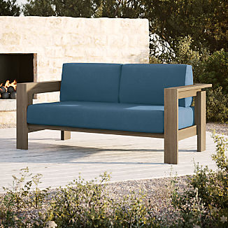 Walker Grey Wash Teak Sofa with Sapphire Sunbrella ® Cushions