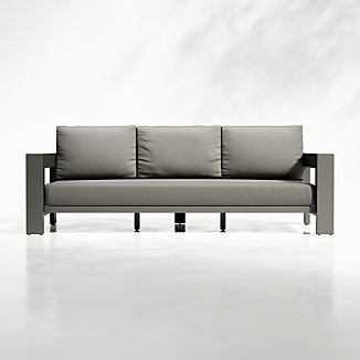 Walker Outdoor Metal Sofa with Graphite Sunbrella ® Cushions
