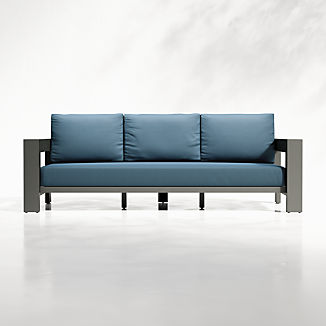 Walker Outdoor Metal Sofa with Sapphire Sunbrella ® Cushions