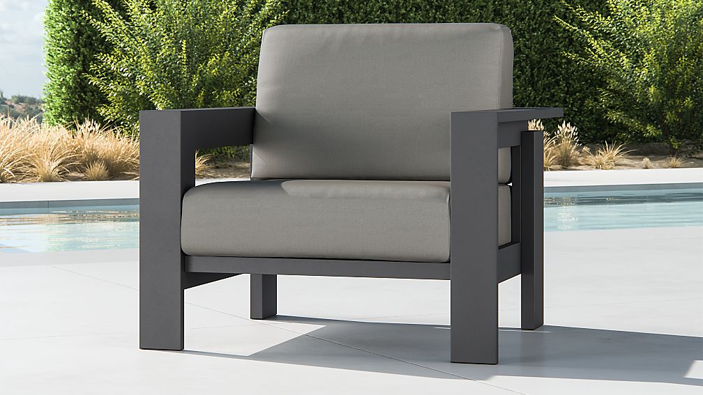 Walker Metal Lounge Chair with Graphite Sunbrella ® Cushions - Image 1 of 5