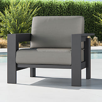 Walker Metal Lounge Chair with Graphite Sunbrella ® Cushions