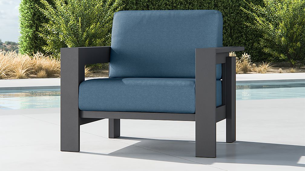 Walker Metal Lounge Chair with Sapphire Sunbrella ® Cushions - Image 1 of 9