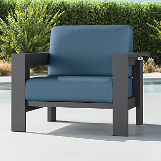 Walker Metal Lounge Chair with Sapphire Sunbrella ® Cushions