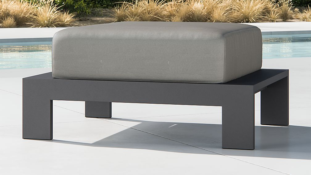 Walker Metal Ottoman with Graphite Sunbrella ® Cushions - Image 1 of 3