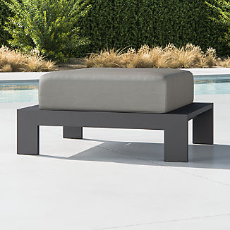 Walker Metal Ottoman with Graphite Sunbrella ® Cushions
