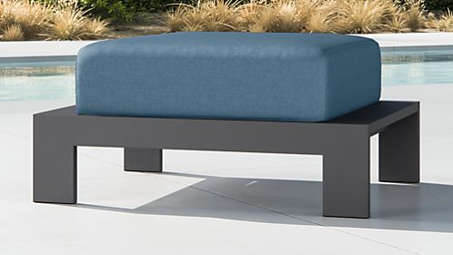 Walker Metal Ottoman with Sapphire Sunbrella ® Cushions