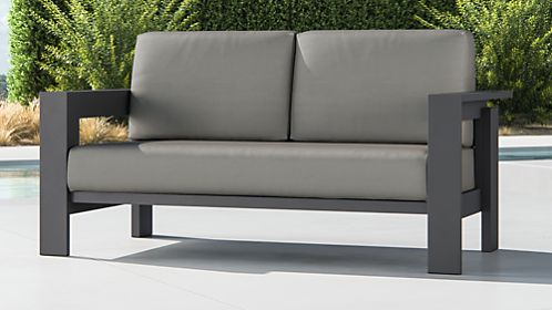 Walker Metal Sofa with Graphite Sunbrella ® Cushions