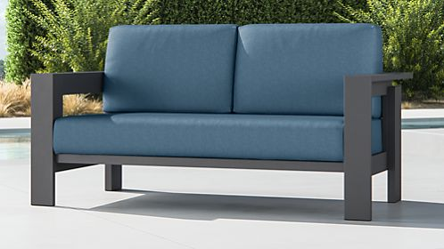 Walker Metal Sofa with Sapphire Sunbrella ® Cushions
