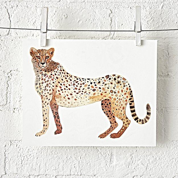Cheetah Safari Unframed Wall Art + Reviews | Crate and Barrel