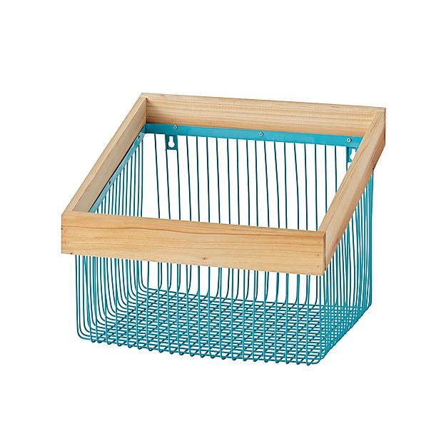 Wood and Wire Aqua Wall Bin + Reviews | Crate and Barrel