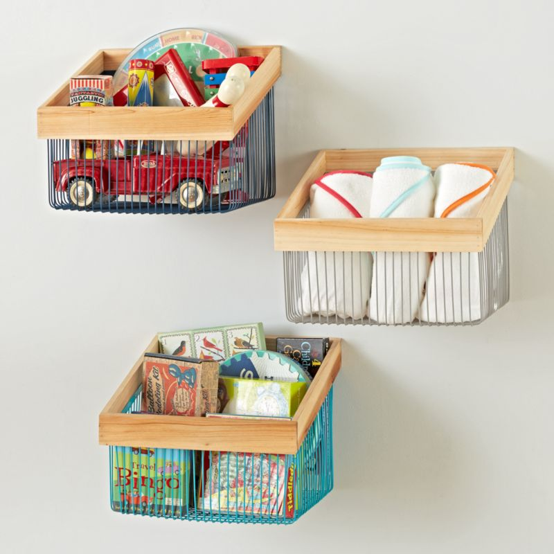 Wood and Wire Wall Bin | Crate and Barrel