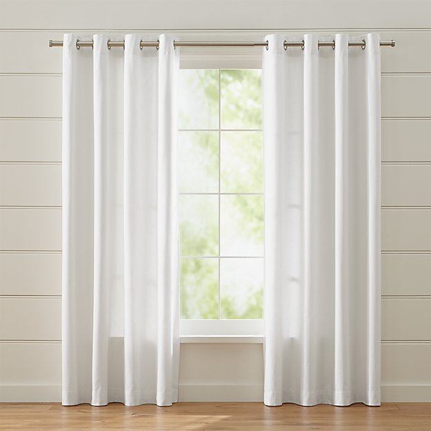 Wallace White Grommet Curtains | Crate and Barrel